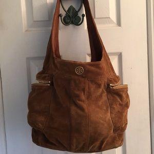 Trina Turk Brown Suede Bag w Gold Embellishments